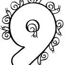 Dibujo gratis del número 9 para imprimir y pintar. Dibujos para niños