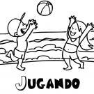 Dibujo para imprimir y colorear de niños jugando en la playa