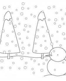Paisaje con nieve para colorear. Dibujos de Navidad