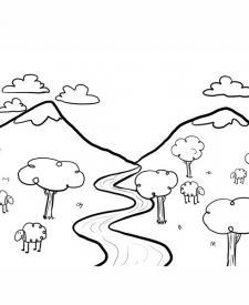 Dibujo para pintar un paisaje con río, imagen de naturaleza para niños