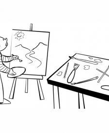 Pintor trabajando en sus cuadros. Dibujos infantiles