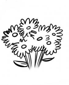 Dibujo de un ramo de flores para que los niños pinten