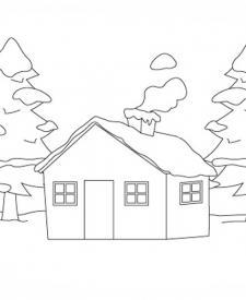 Cabaña nevada para que los niños pinten. Dibujos de casas