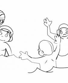 Dibujo de jugadores de waterpolo. Imágenes de deportes para colorear