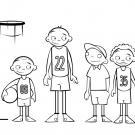 Dibujo de jugadores de baloncesto. Imágenes de deportes para pintar