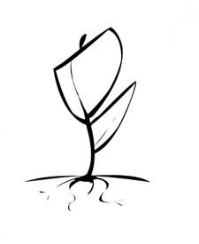 Flor con raíz. Dibujo de naturaleza para pintar