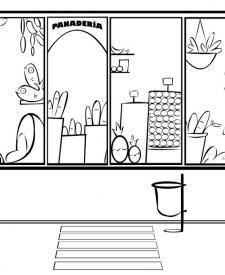 Dibujos para pintar de tiendas: escaparate de panadería