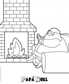Papá Noel leyendo cartas de niños. Dibujos de Navidad