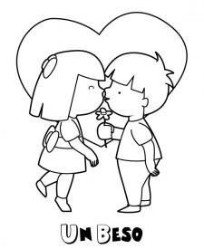 Beso entre niños. Dibujos infantiles para colorear