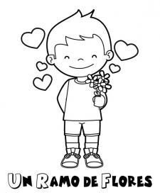 Dibujo de un niño enamorado para pintar con tus hijos