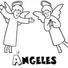 Dibujo de dos ángeles para colorear con los niños