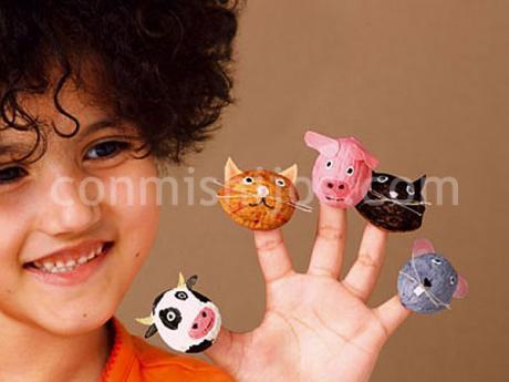 Animales con nueces. Manualidades infantiles