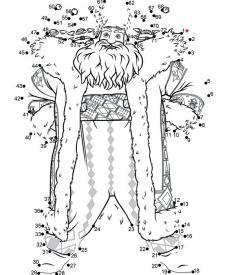 Dibujo para unir los puntos de Papá Noel. Pasatiempos para niños