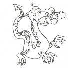 Dibujo de dragón echando fuego para colorear