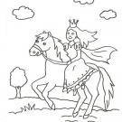 Dibujo de una princesa y su caballo para colorear con niños