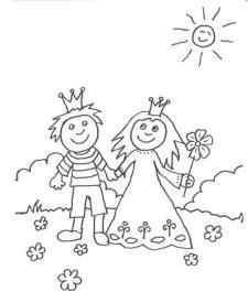 Dibujo para pintar con niños de un príncipe y una princesa