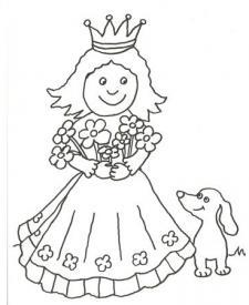 Dibujo de una princesa y su mascota para pintar con niños
