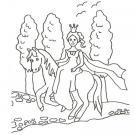 Dibujo de una princesa y su pony para colorear con niños