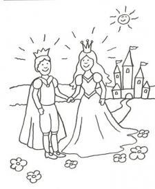 Dibujo para pintar con niños de príncipes enamorados