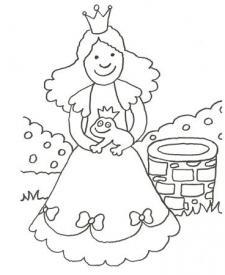 Dibujo de princesa y sapo encantado para colorear con los niños
