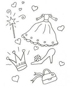 Dibujo de un disfraz de princesa para colorear con niños