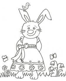 Dibujo para pintar con niños de una conejita con vestido