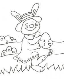 Dibujo de un conejo en el campo para colorear con niños