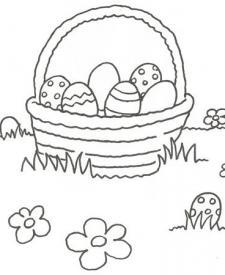 Dibujo de una cesta con huevos de Pascua para colorear