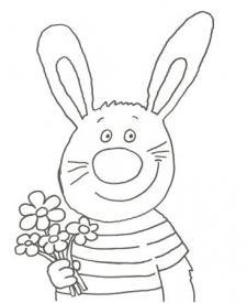 Dibujo de un conejo con flores para pintar con los niños