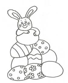 Dibujo de un conejo con huevos de Pascua para colorear con niños