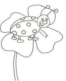 Dibujo de una mariquita sobre una flor para pintar con niños