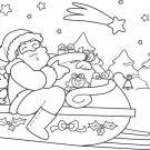 Dibujo navideño de Papá Noel en su trineo para imprimir