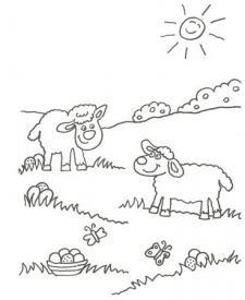 Dibujo de ovejas y mariposas para colorear con niños