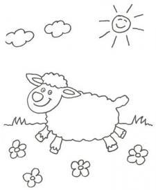 Dibujo para pintar con niños de una oveja en el campo