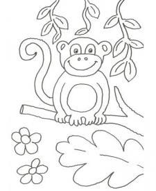 Dibujo de un chimpancé en la selva para pintar con niños
