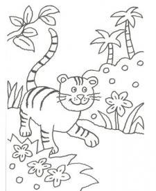 Dibujo de un leopardo en la selva para pintar con niños