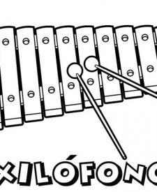 Xilófono para colorear. Dibujos de instrumentos musicales