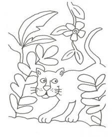 Dibujo de una pantera en la selva para pintar con niños