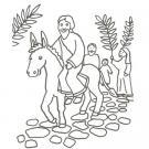 Dibujo de Jesús y la borriquilla para pintar con los niños