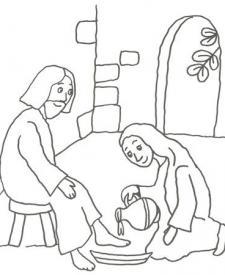Dibujo de Jesús y el lavatorio para pintar con los niños
