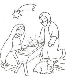 Dibujo del Portal de Belén para colorear con los niños