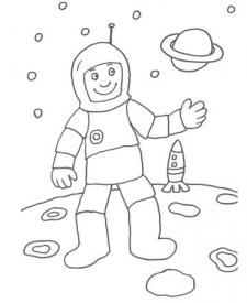 Dibujo de un astronauta y un cohete para colorear con los niños