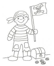 Dibujo para pintar con niños de un pirata y su bandera