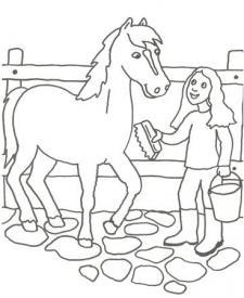 Dibujo para pintar con niños de un veterinario y un caballo