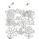 Dibujo de flores y abejas para colorear con niños