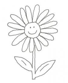 Dibujo de un girasol en primavera para colorear con niños