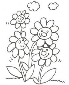 Dibujo de margaritas en primavera para pintar con niños