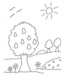 Dibujo de un árbol con peras para colorear con niños