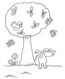 Dibujo para niños de un perro con árboles y mariposas para pintar