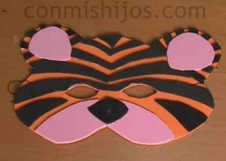 Antifaz de tigre. Manualidades de Carnaval para niños